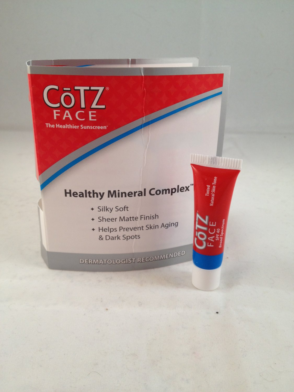 CoTz Face Healthy Mineral Complex Natural Skin Tone tinted sunscreen SPF 40 travel size
