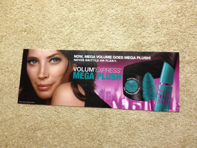 Maybelline Volum'Express Mega Plush Mascara Product Display Poster