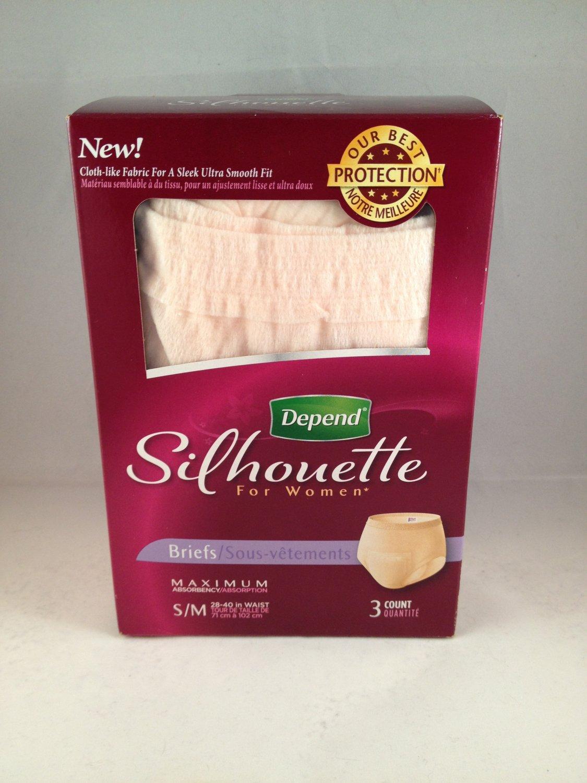 Depend Silhouette for Women Briefs Underwear Maximum Absorbency S/M 3-pack small medium