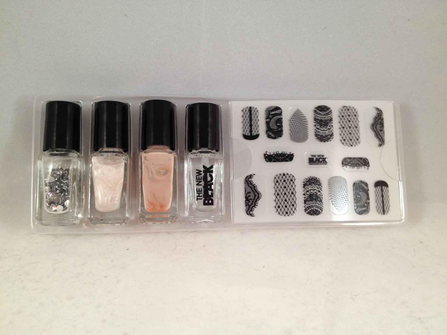 The New Black Mesh and Lace Nail Polish and Strips lacquer color decals
