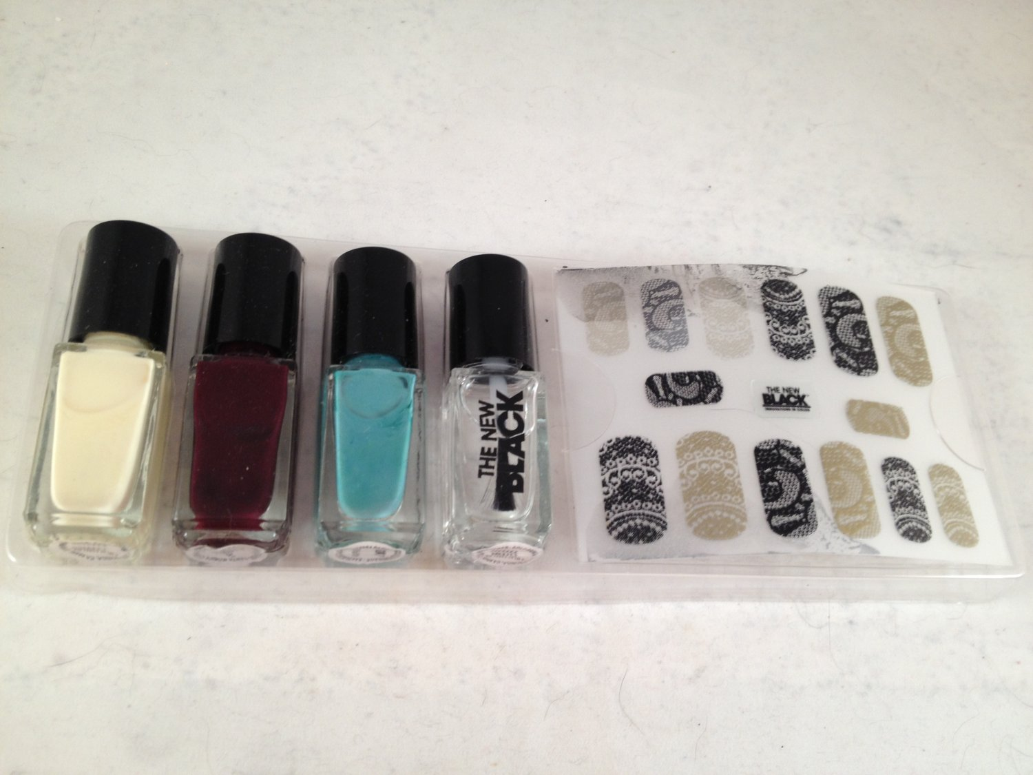 The New Black Lace the Punch Nail Polish and Strips lacquer color decals *damaged*