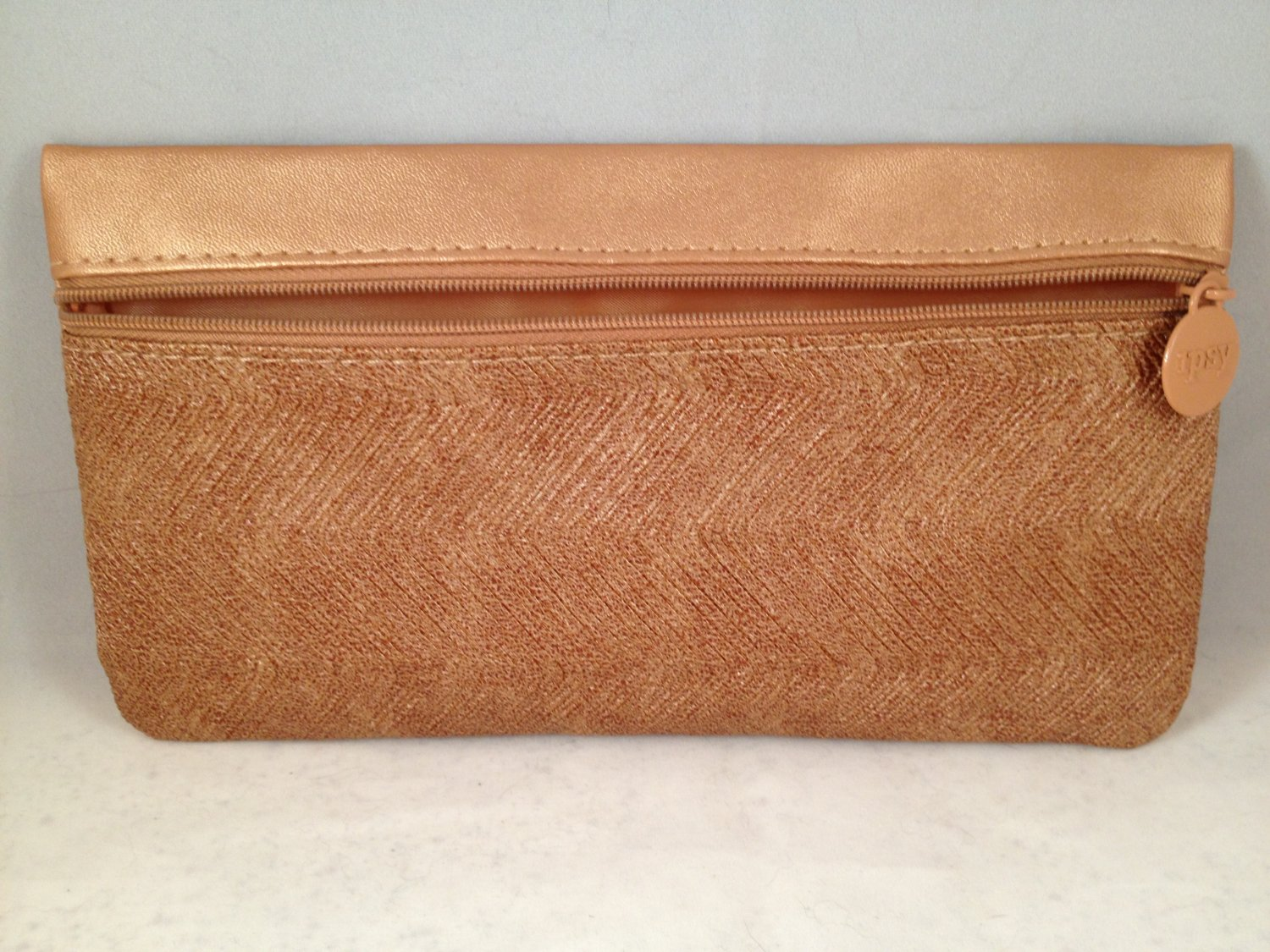 Ipsy MyGlam Glam Makeup Bag Face Fashion September 2015 Golden Bronze cosmetic case zippered clutch