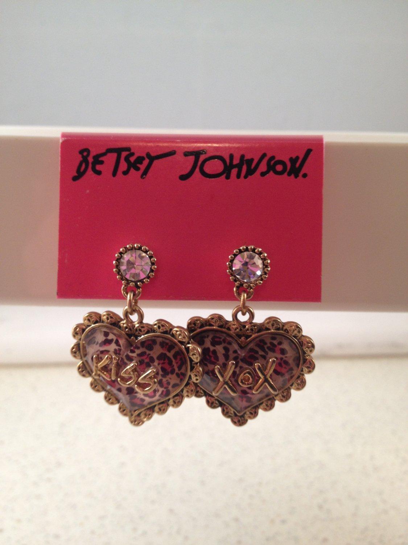 "Betsey Johnson ""Lovely Leopard"" Heart Drop with Crystal Earrings kiss xox dangle"