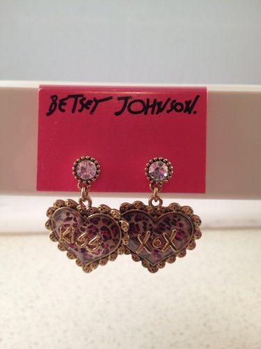 "Betsey Johnson ""Lovely Leopard"" Heart Drop with Crystal Earrings kiss xox dangle"