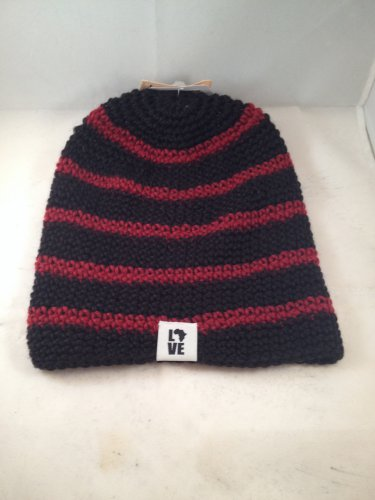 Krochet Kids The 5207.5 Unique Hand Crocheted Hat Red Black Striped Fitted Beanie