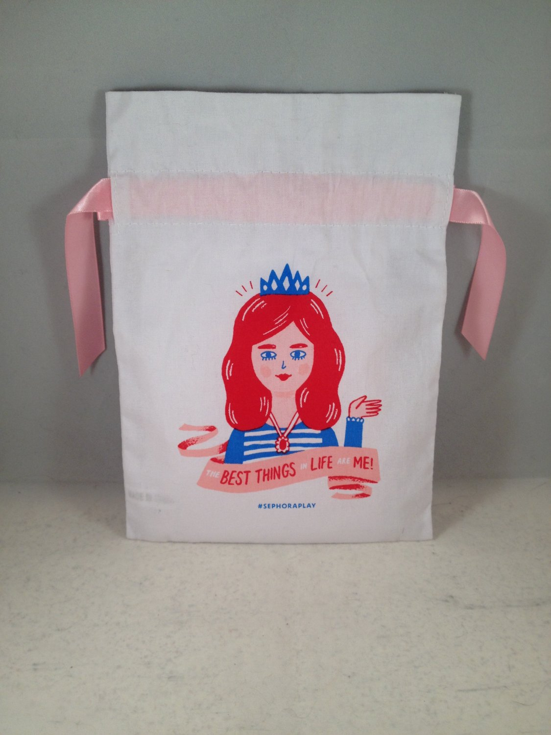 Sephora Play Drawstring Cloth Makeup Bag The Best Things In Life Are Me! April 2017 empty