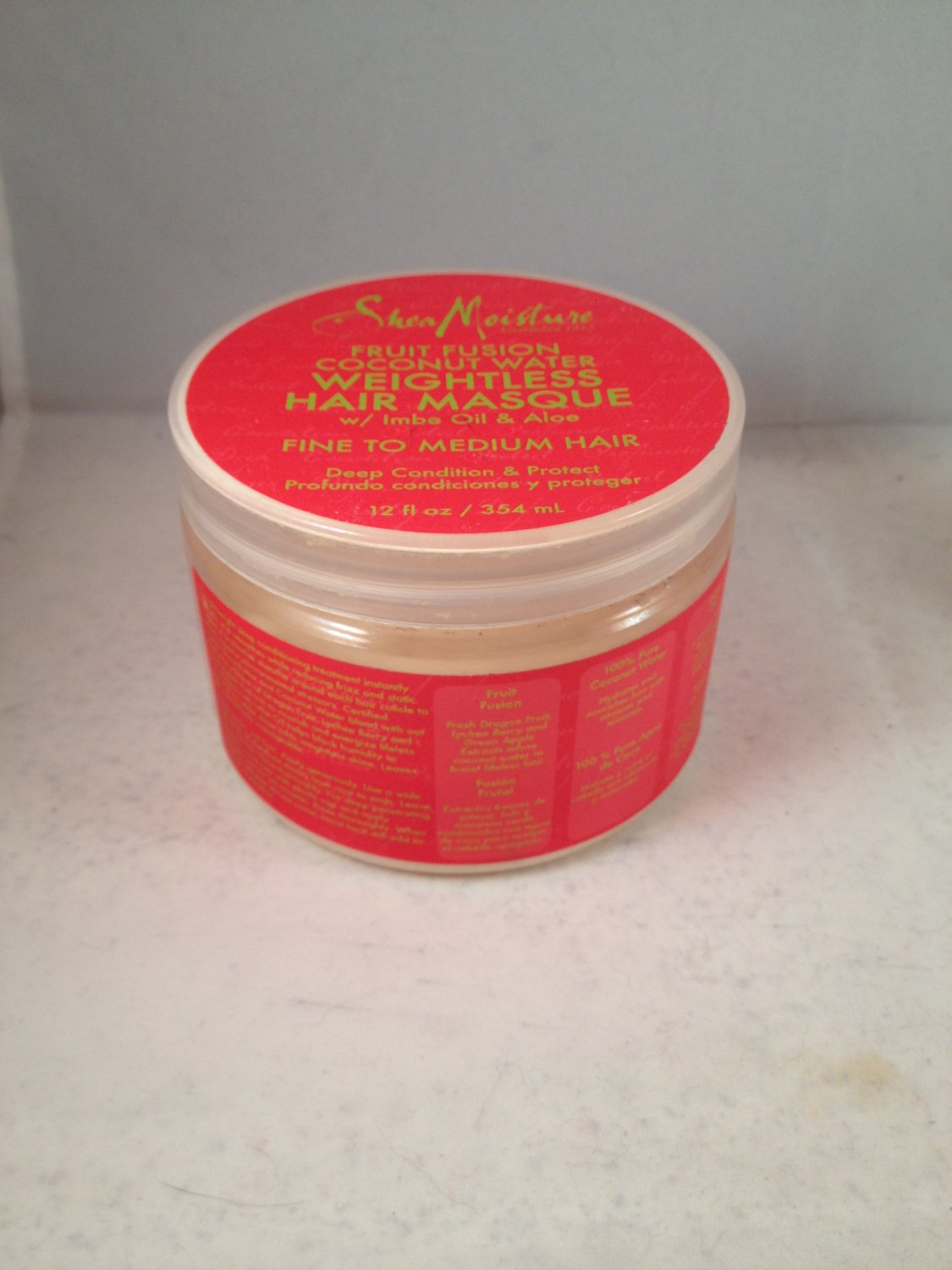 Shea Moisture Fruit Fusion Coconut Water Weightless Hair Masque with Imbe Oil Aloe Deep Conditioning