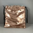Sephora Play Smarts Rose Gold Sequin Drawstring Makeup Bag Glitter Eyes for Real Life empty