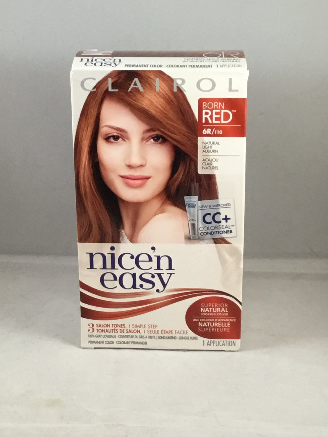 Clairol Nice 'N Easy Hair Color Born Red 6R / 110 Natural Light Auburn permanent dye creme
