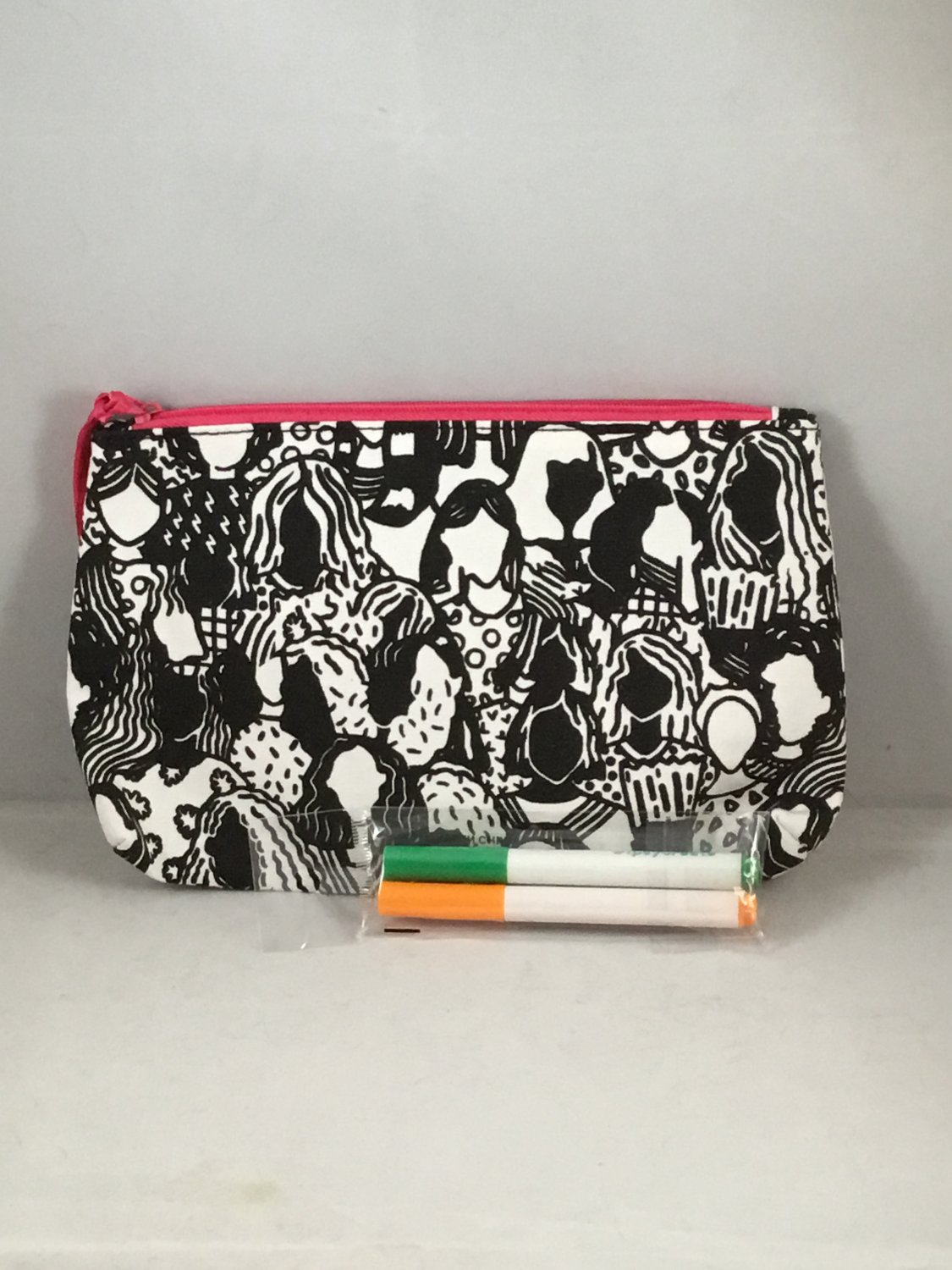 Ipsy MyGlam Glam Bag Create March 2018 Cosmetic case purse Black & White Coloring Markers