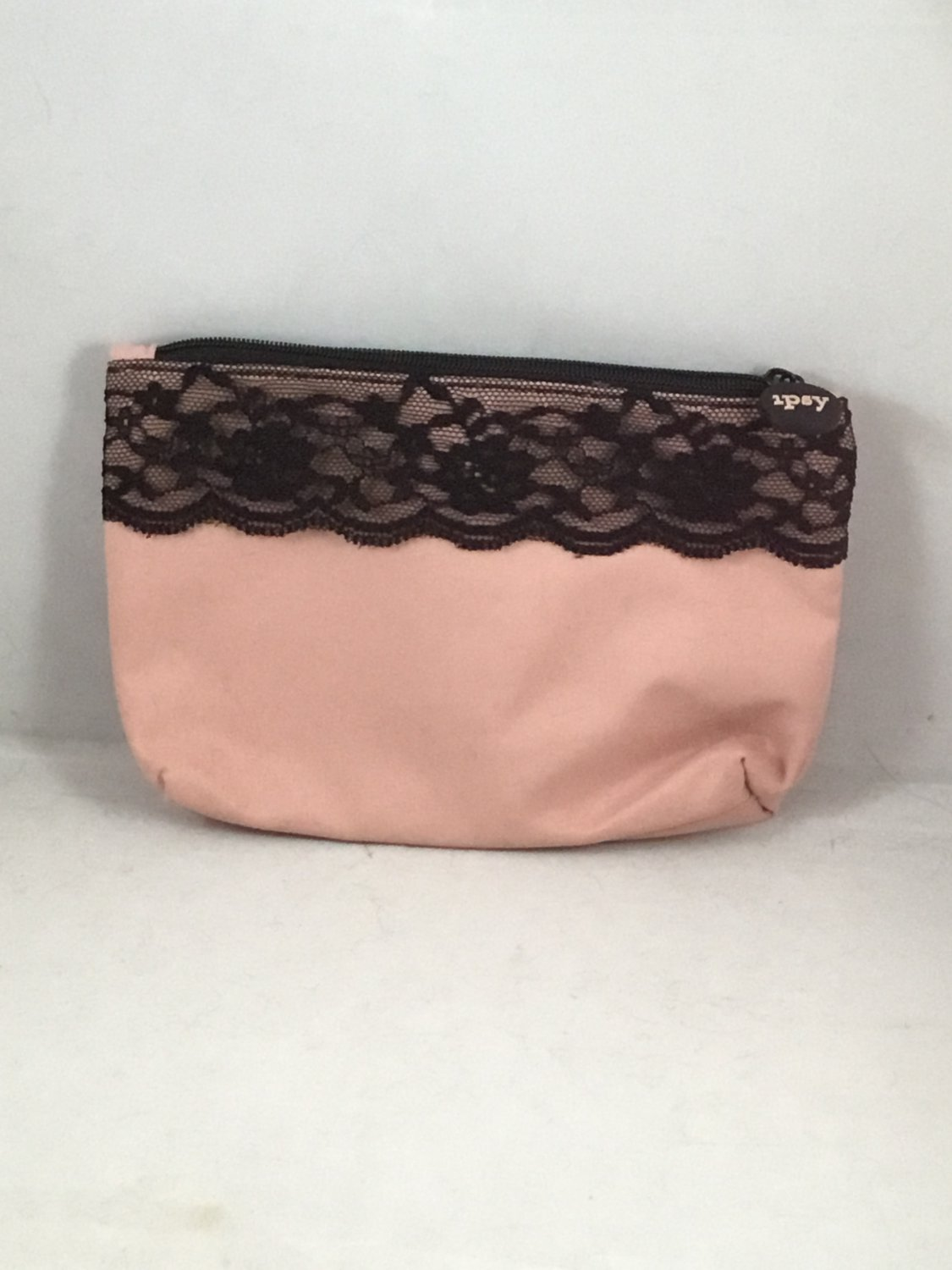 Ipsy MyGlam Glam Bag February 2018 Unzipped Cosmetic case purse Pink Black Lace