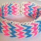 Triple Fishtail Rubber Band Bracelet - Pink & Blue