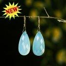 """Solid 14k / 18k  """" Medium Size""""  Peru-Aqua Chalcedony Faceted Teardrop Earrings"""