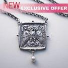 Silver Greek Classical Square Athena's Owl Tetradrachm Pendant W/Chain - no.8