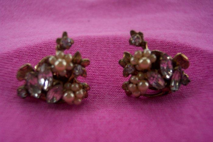 Vintage Rhinestone & Faux Pearl Clip Earrings