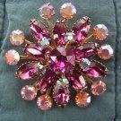 Floral Aurora Borealis & Amethyst Rhinestone Pin