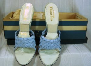 Strappy Light Blue Leather Vintage  Springolators by Fiancees:  Sz 6-1/2M, NIB, High Slender Heel