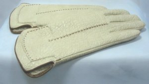 Vint Textured Aris Warm Winter Gloves Cream/Brown:  Snuggly Lining, Sz 6-1/2-7, Perfect Condition