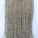 Dainty Vintage Handmade Wrist Purse, Beautifully Done: Taupe Crochet, Silver Metallic Bead Fringe