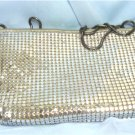 Vintage Silvertone Metal Mesh Purse: Pacific Express, Zips Both Top & Inside Pocket, Chain Strap