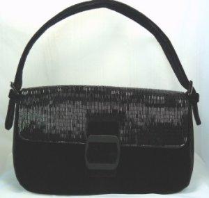 Elegant Black Velvet Evening Purse by Pursuits, Ltd. Black Bugle Bead Top w/Buckle Closure