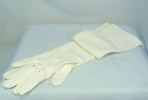 Elegant White Evening Gloves by Val Raalte, Sz 7, Slightly Textured Nylon, 8 Button