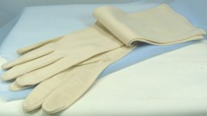 Elegant Bone Colored Hanson Evening Gloves, Sz. 7-1/2, Analon, 8 Button Length