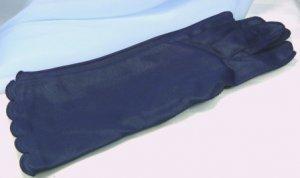 Fownes' Vintage Navy Textured Nylon Gloves, Sz 7-1/2, Beautiful Scalloped Edge