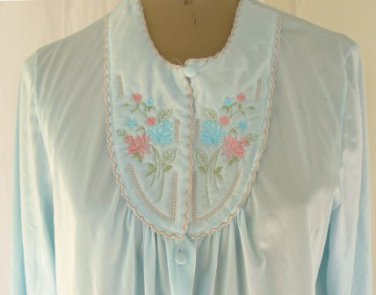 Vintage Lorraine PJ's in Softest Aqua, Sz M, Embroidered Yoke, Long Sleeves