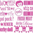 Roller Derby Vinyl Helmet Stickers (16 Decal Sheet)