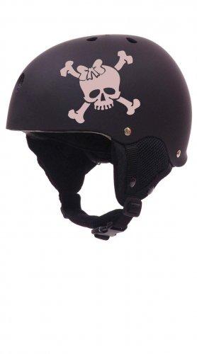 Roller Derby Skull with Bow Helmet Vinyl Sticker Decal