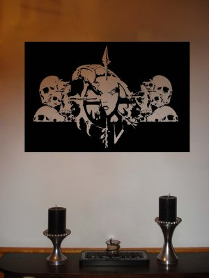 Large World of Warcraft UNDEAD Crest with Skulls Wow Vinyl Wall Sticker