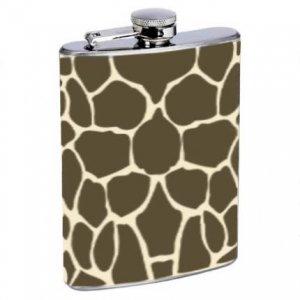Giraffe Design Style Stainless Steel Alcohol Liquor Flask 6 oz 8 oz.