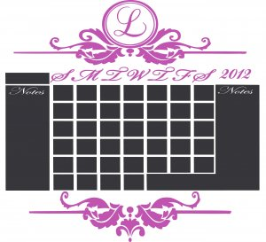 Chalkboard Monthly Calendar Vinyl Wall Sticker Decal Great for any Home or Office