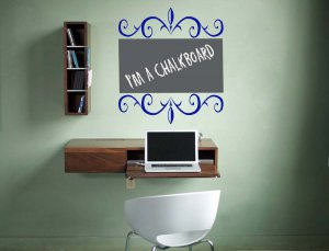 Floral Chalkboard Memo Vinyl Wall Sticker Decal...Great for any Home, Dorm Room or Office