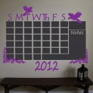 Chalkboard Monthly Floral Birds Calendar Vinyl Wall Sticker Decal Great for any Office
