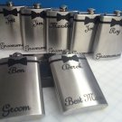 6 Wedding Bachelor Party Personalized Stainless Steel Liquor Flasks 6 or 8 oz.