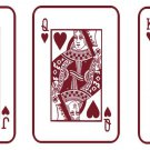 Royal Flush of Hearts Cards Poker Vinyl Wall Sticker Decals (5 decals)