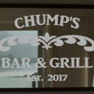 """Custom Bar & Grill Frosted Etched Glass Vinyl Sticker Decal 22""""h x 28""""w- 36""""w"""