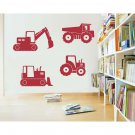 "Construction Vehicles Trucks Vinyl Wall Sticker Decals 22""- 35""w (4 Designs)"