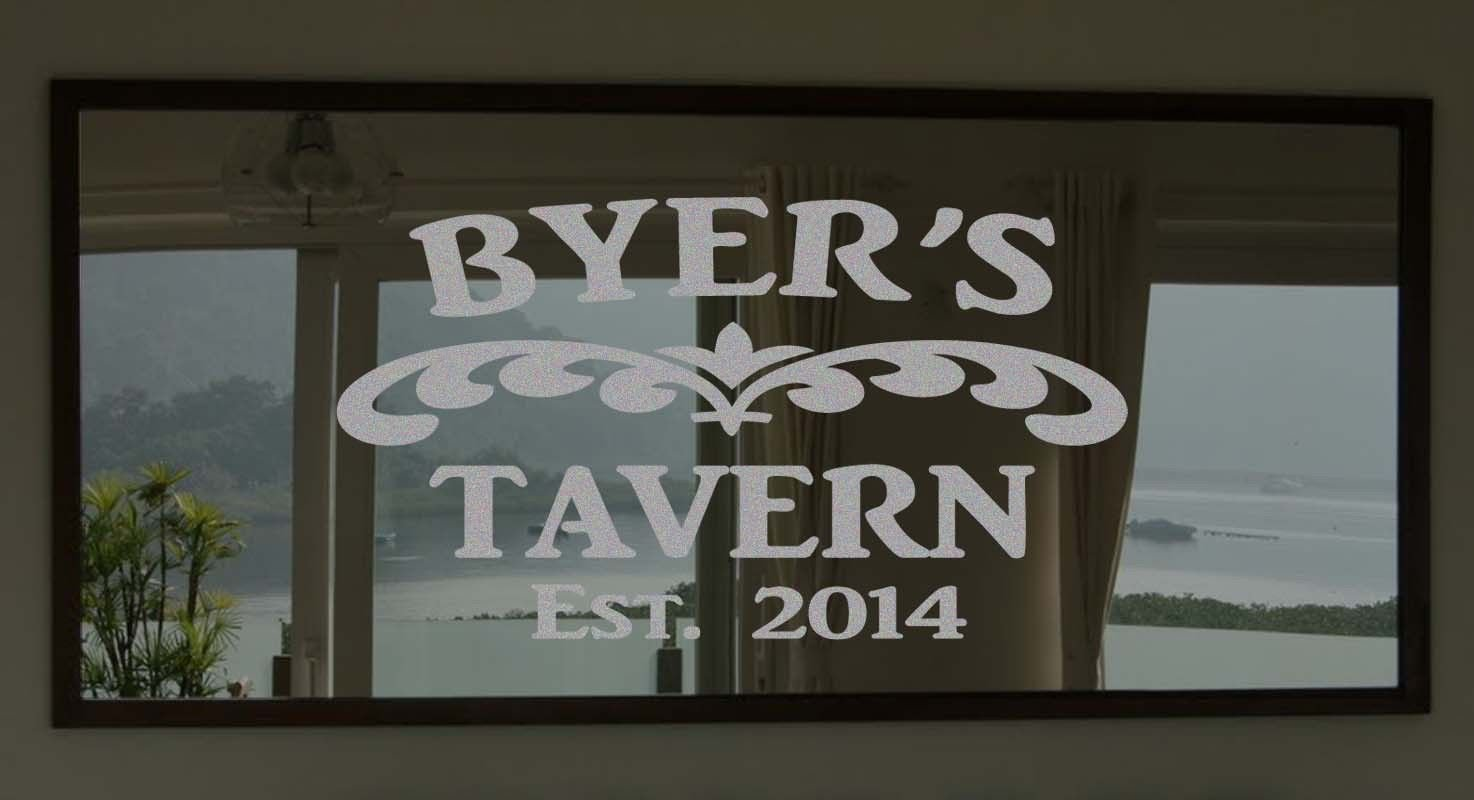 """Custom Family Tavern Frosted Etched Glass Vinyl Wall Sticker Decal 22""""h x 28""""w"""