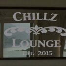 """Custom Family Lounge Frosted Etched Glass Vinyl Wall Sticker Decal 22""""h x 28""""w"""