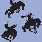 "Cowboy Western Rodeo Horse Vinyl Sticker Decals (Quantity 3) 22""h x 22""w each"