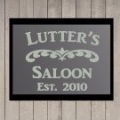 """Custom Family Saloon Frosted Etched Glass Vinyl Sticker Decal 22""""h x 28""""w- 40""""w"""