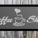 "Coffee Shop Quote Frosted Etched Glass Vinyl Wall Sticker Decal 12""h x 36""w"