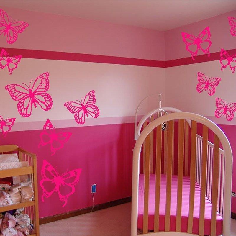 12 Butterflies Vinyl Wall Stickers Decals Baby Kids Girls Nursery (2 Designs)