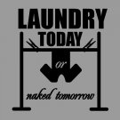 "Laundry Today Naked Tomorrow Laundry Room Vinyl Wall Sticker Decal 41""w x 44""h"