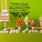 "Two Hearts that Beat as One Wedding Wall Decor Vinyl Sticker Decal 40""h x 56""w"