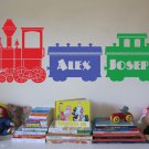 "Kids Train Set Locomotive Personalized Vinyl Wall Sticker Decal 36""h x 96""w"