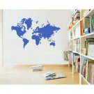 "World Map Silhouette Vinyl Wall Sticker Decal 42""h x 60""w"